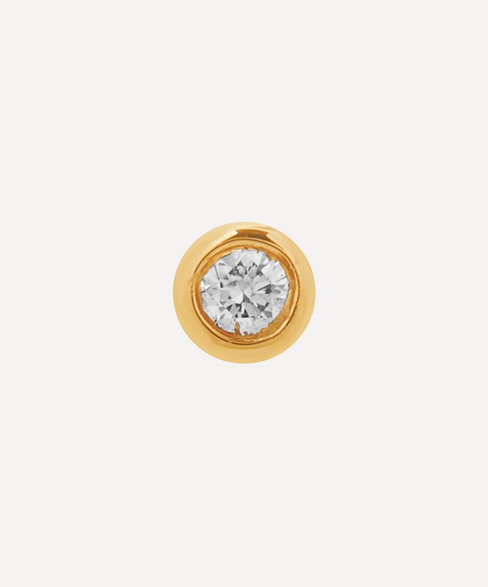 Gold Small Dot Diamond Stud Earring