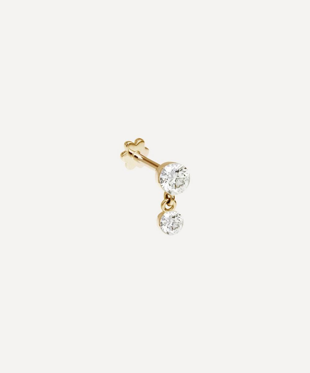 2mm-1.5mm Invisible Set Diamond Dangle Threaded Stud Earring