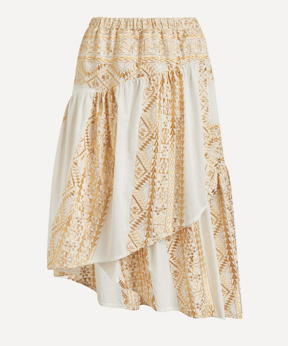 Faux-Wrap Embroidered Midi-Skirt