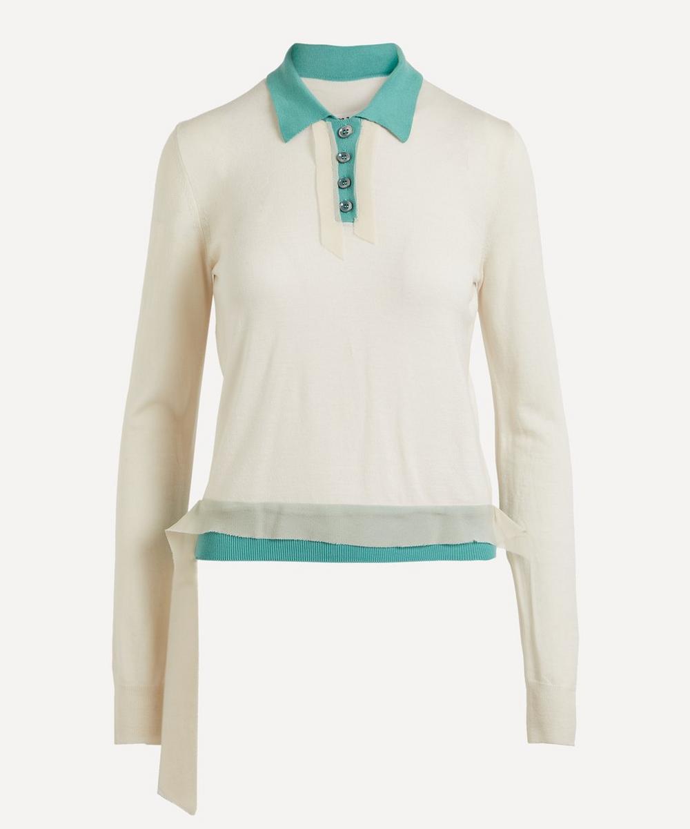 Layered Wool-Cotton Polo-Shirt