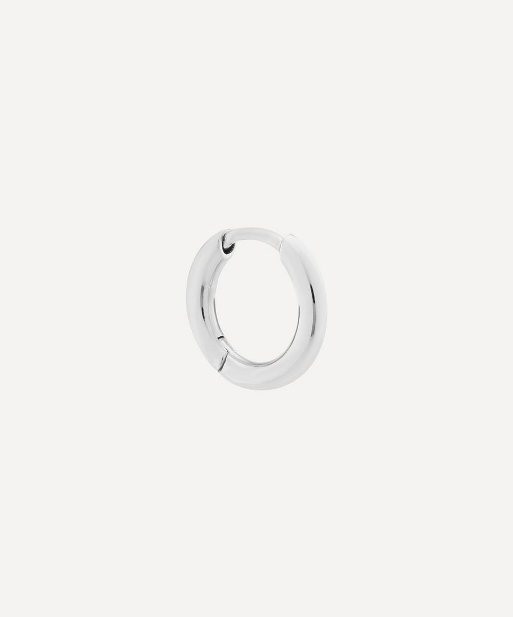 Rhodium-Plated Sterling Silver Marco Huggie Hoop Earring