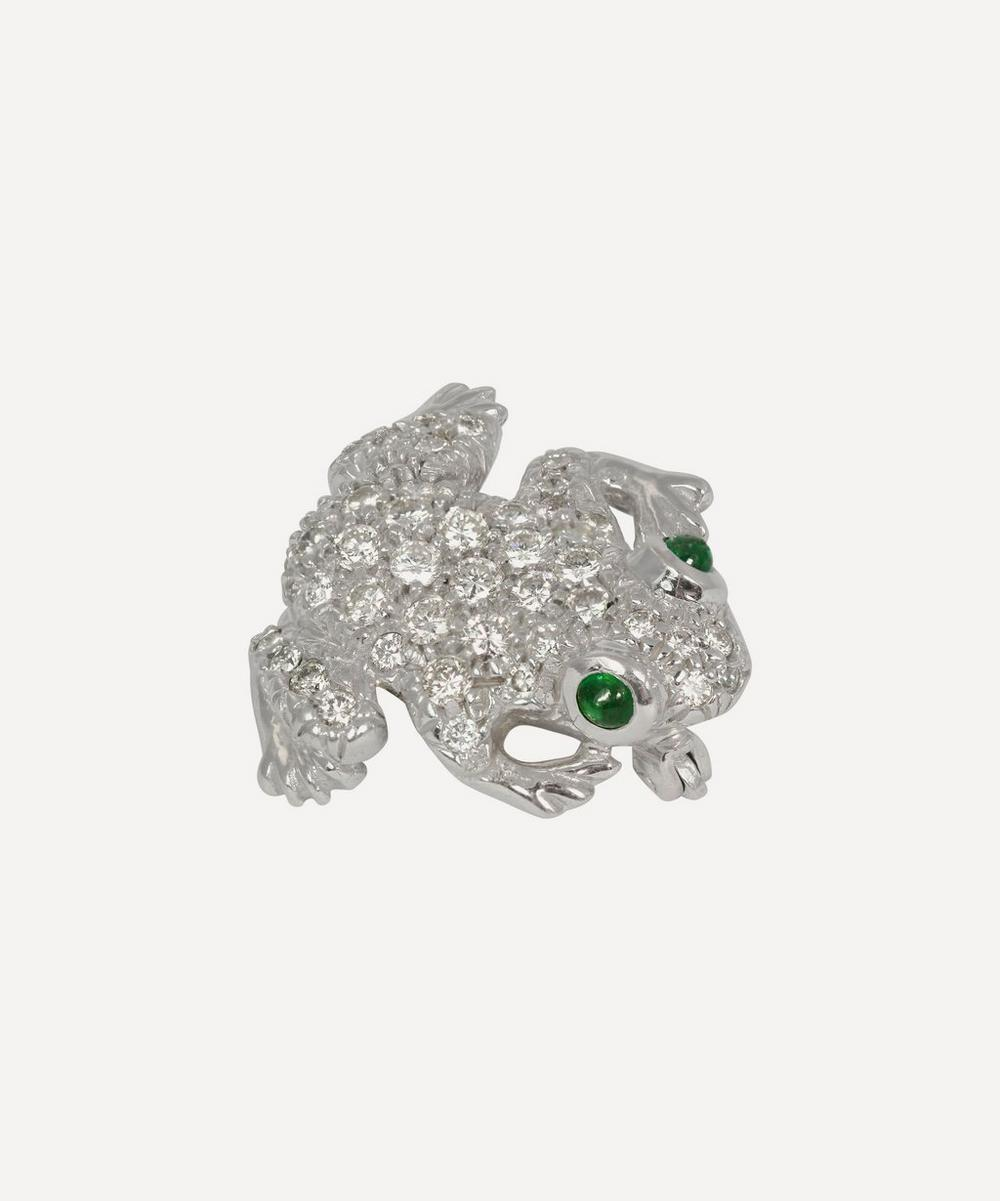 White Gold Diamond and Emerald Frog Brooch