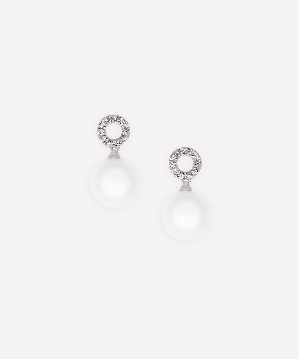 White Gold Pearl and Diamond Open Cluster Drop Earrings
