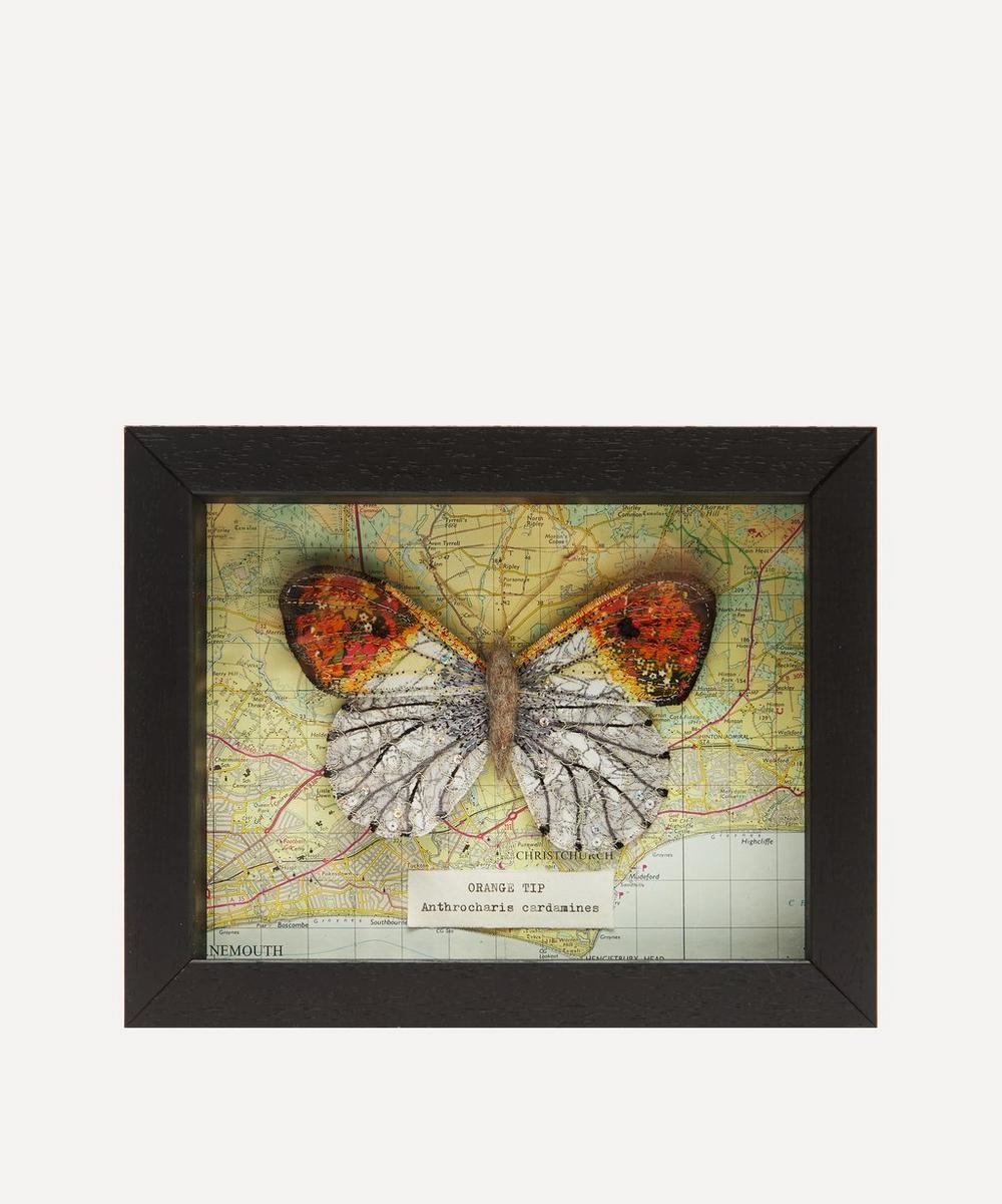 Orange Tip Embroidered Butterfly Framed