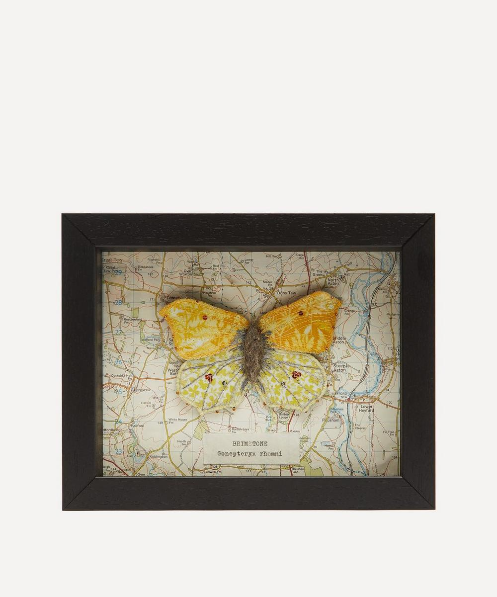 Brimstone Embroidered Butterfly Framed