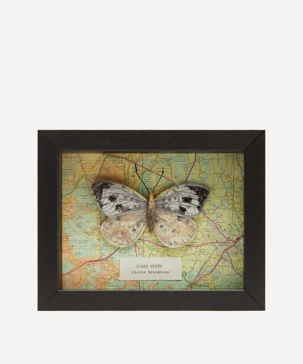 Cabbage White Embroidered Butterfly Framed