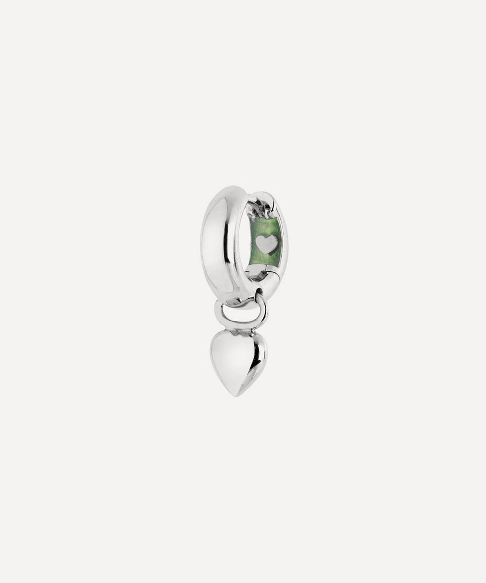 White Rhodium-Plated Aya Huggie Hoop Earring