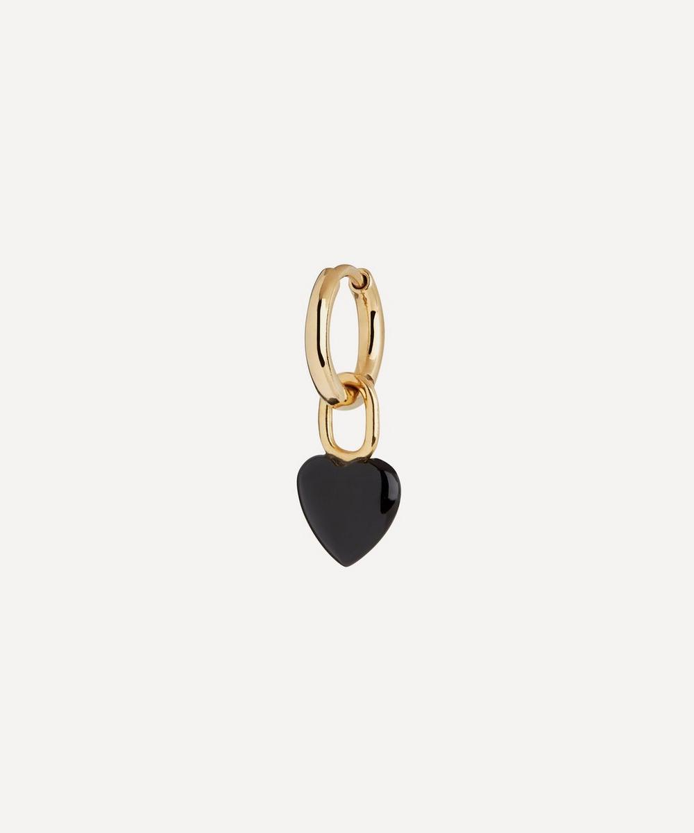 Gold-Plated Raise Onyx Heart Huggie Hoop Earring