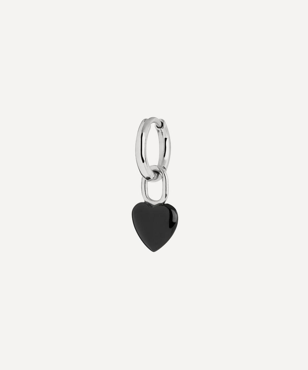 White Rhodium-Plated Raise Onyx Heart Huggie Hoop Earring