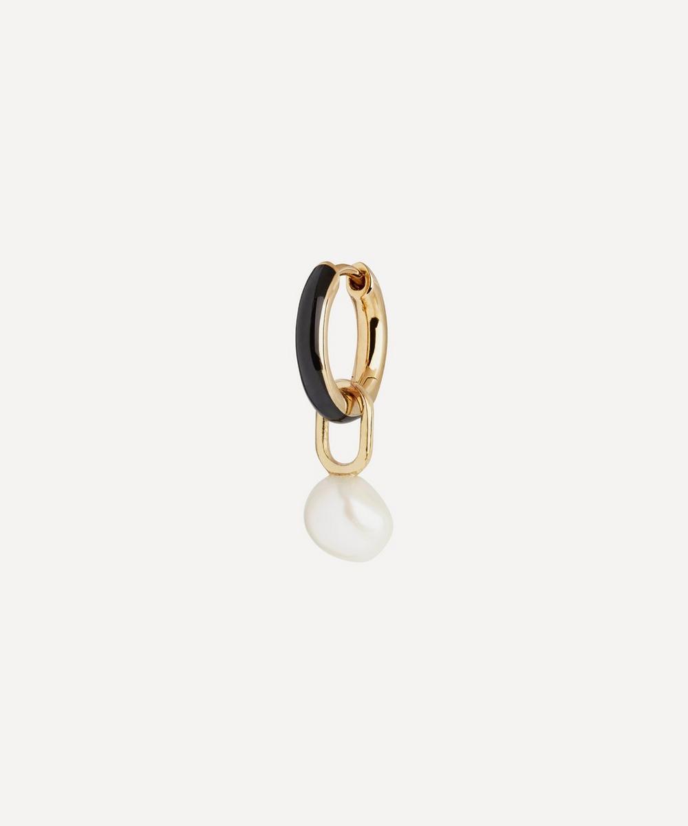 Gold-Plated Bluff Pearl and Ebony Enamel Huggie Hoop Earring