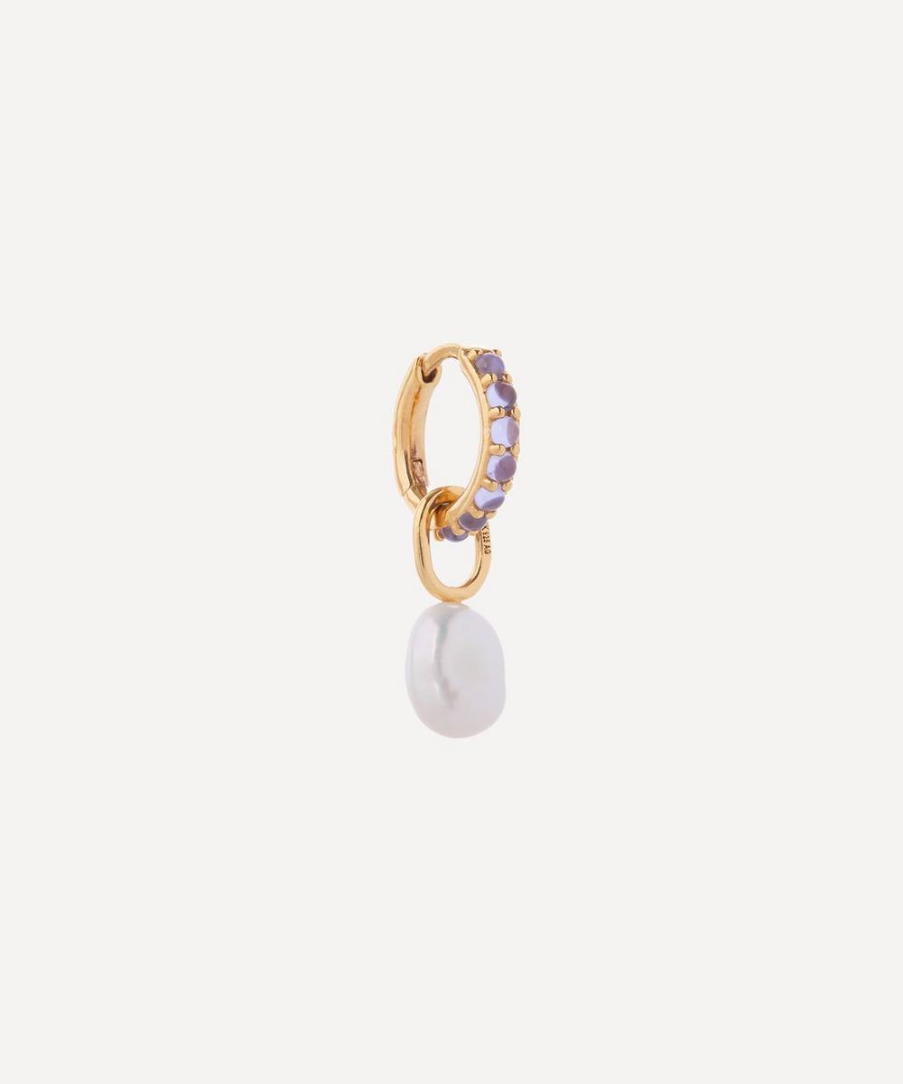 Gold-Plated Globo Cielo Pearl and Violet Glass Crystal Huggie Hoop Earring