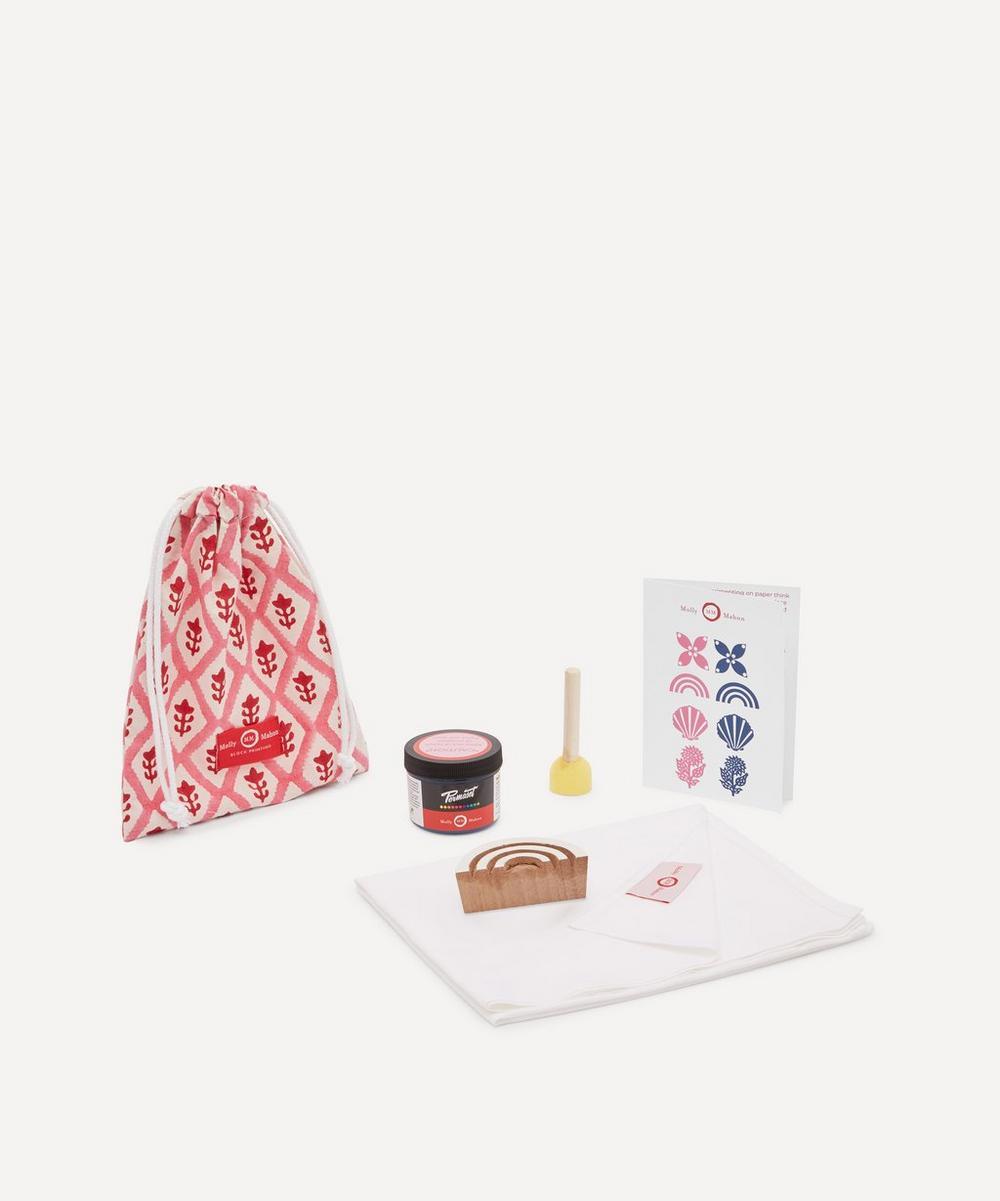 Tea Towel Block Print Kit Rainbow Indigo