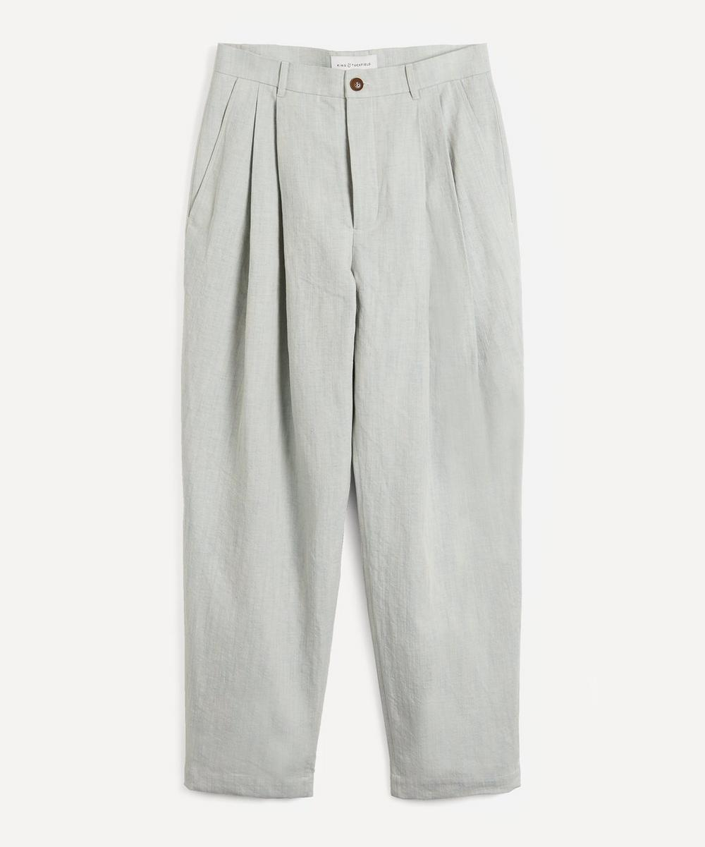 Denim Pleated Tapered Trousers