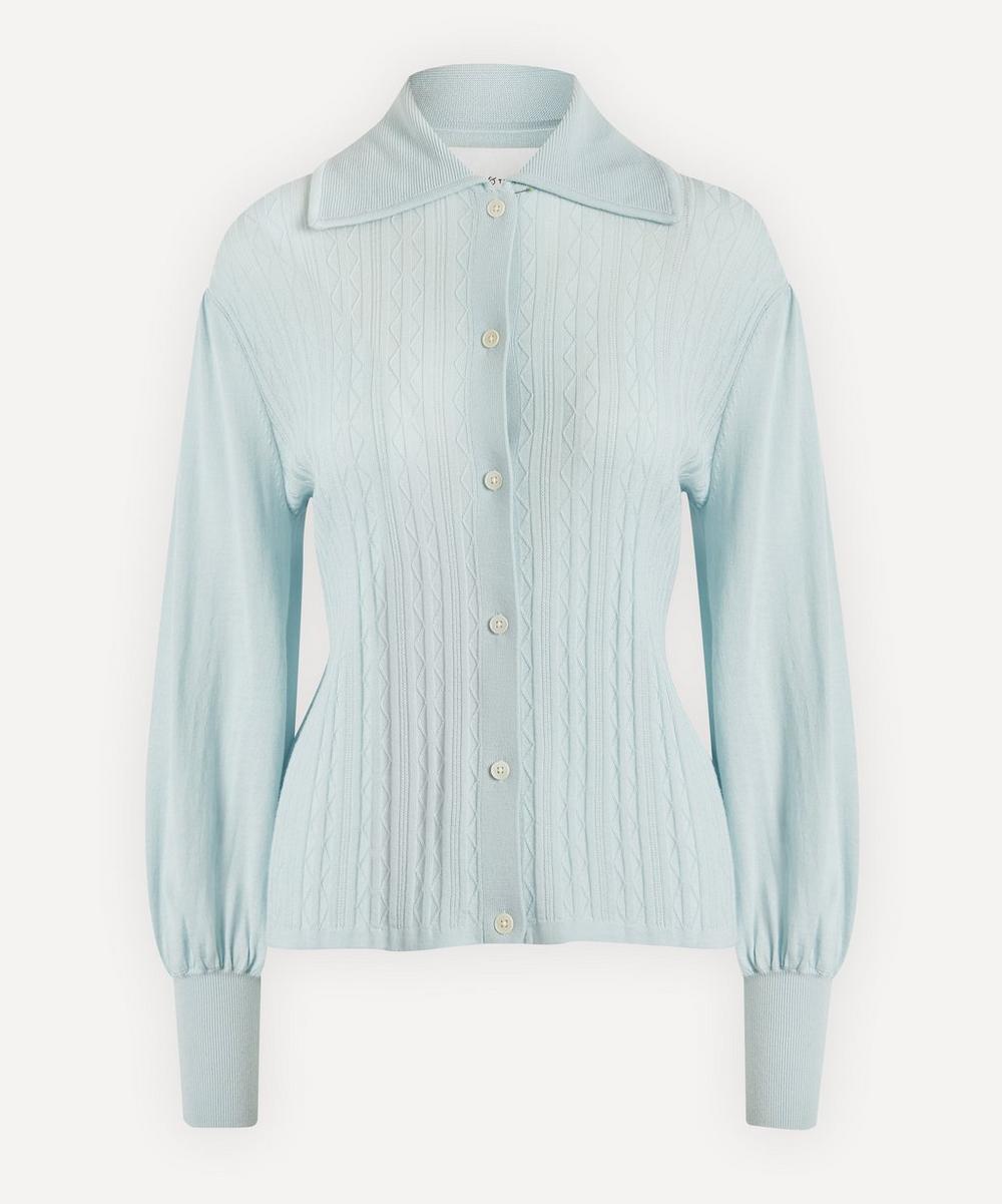 Bell-Sleeve Merino Wool Knit Shirt