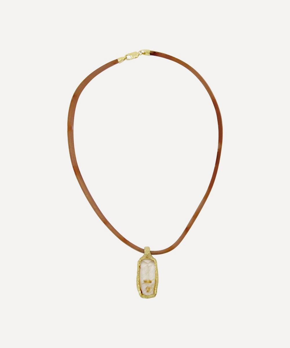 Gold 1970s Leather Cord and Rutilated Quartz Pendant Necklace
