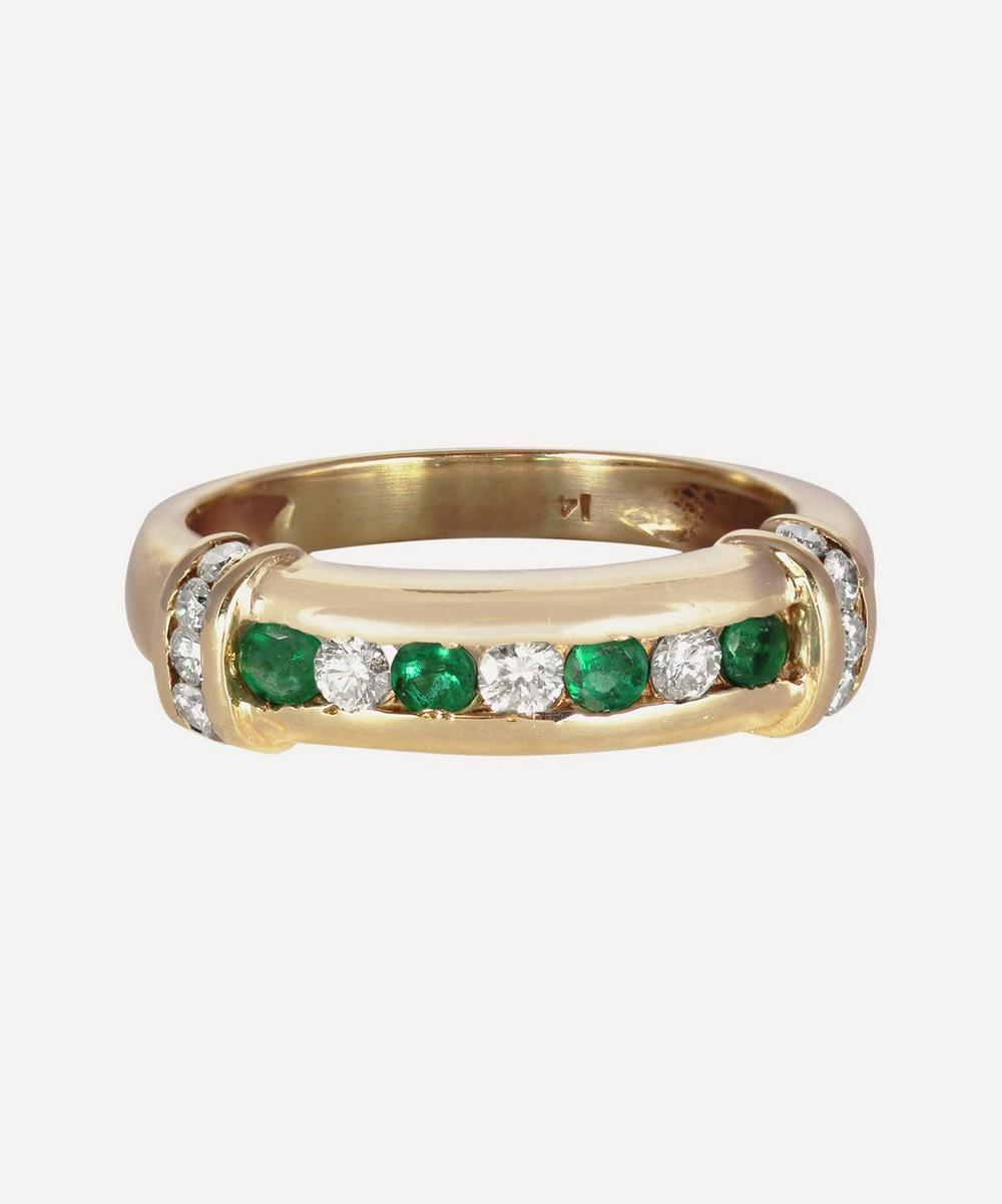 Gold Diamond and Emerald Band Ring