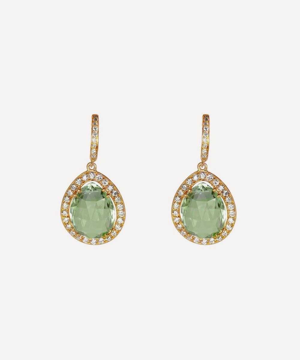 Gold Green Amethyst and Diamond Clip-On Drop Earrings