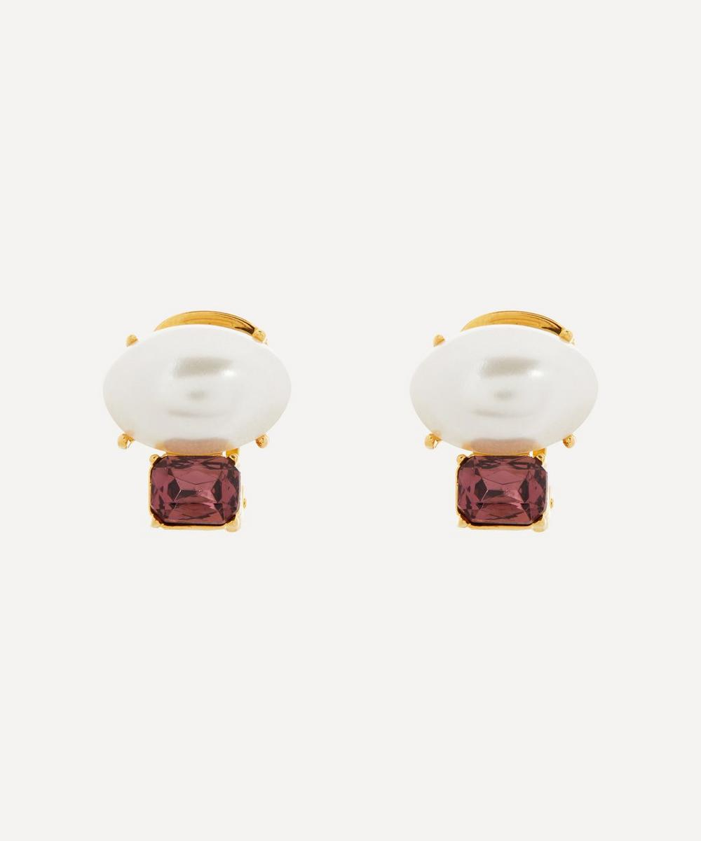Gold-Plated Faux Pearl and Glass Amethyst Clip-On Earrings