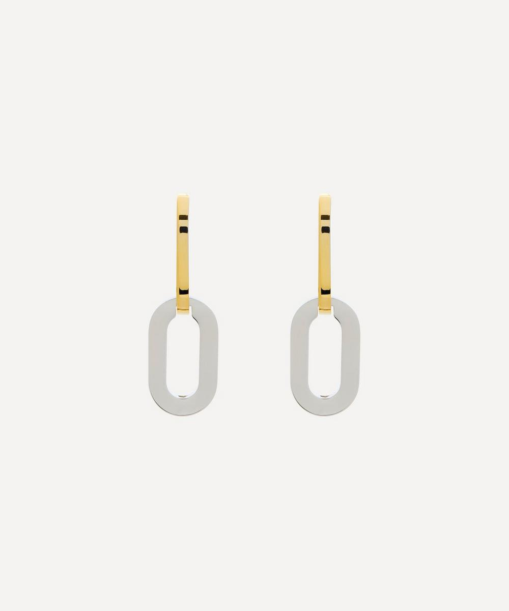 Gold-Plated and Rhodium-Plated Double Link Drop Earrings