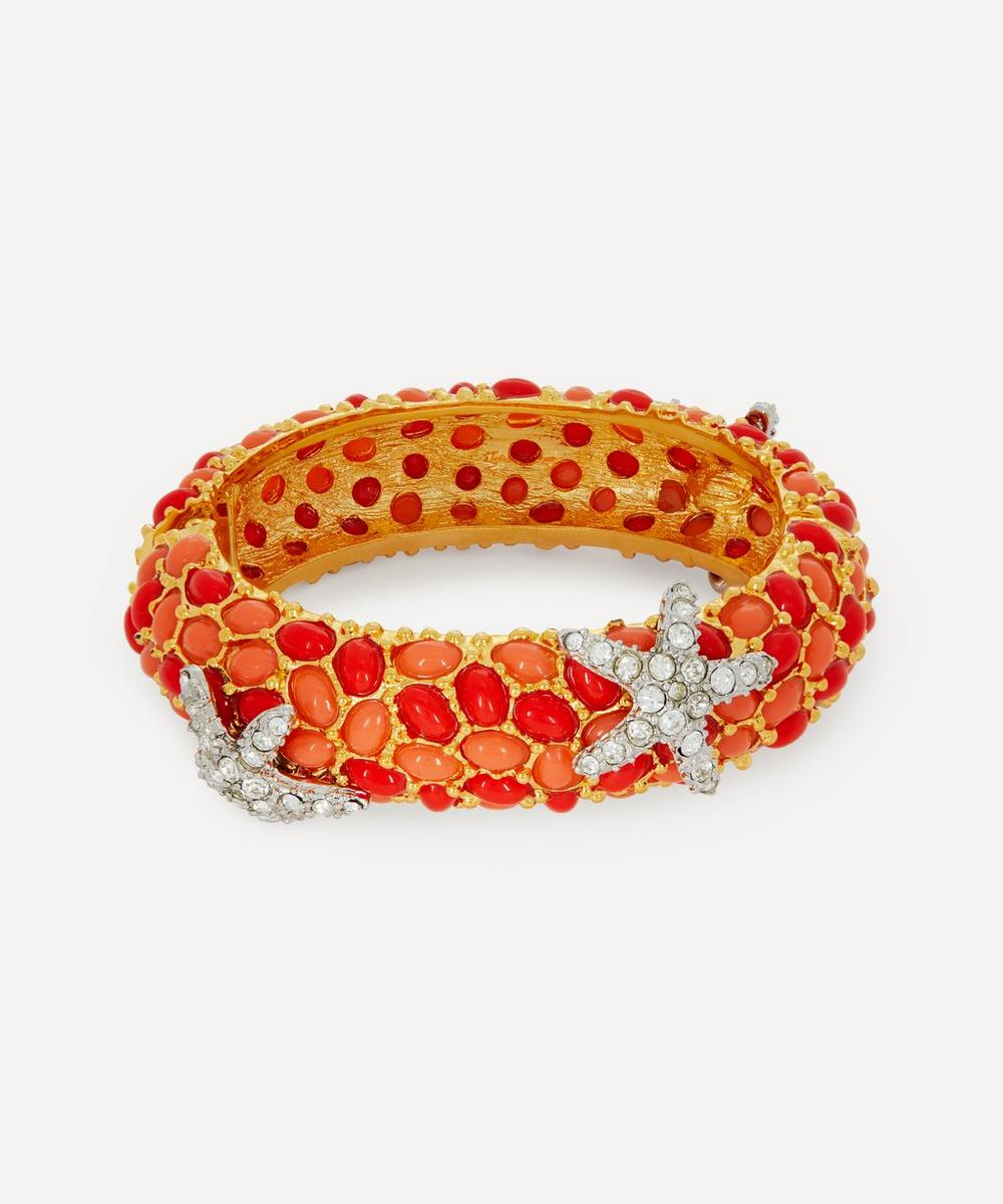 Gold-Plated Coral Resin Cabochon and Crystal Starfish Bracelet
