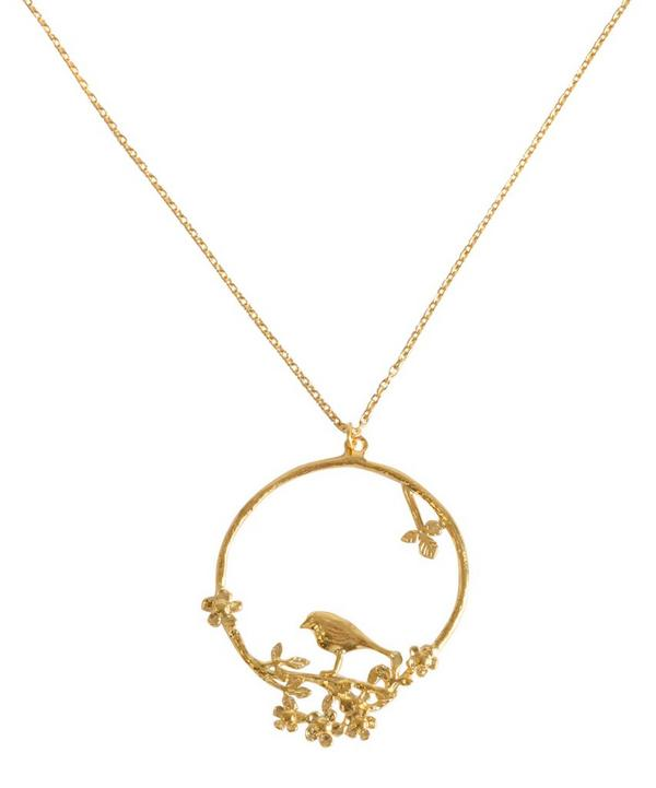 Flowery Bird Loop Necklace