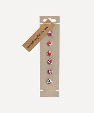 Six Floral Print Buttons on Card