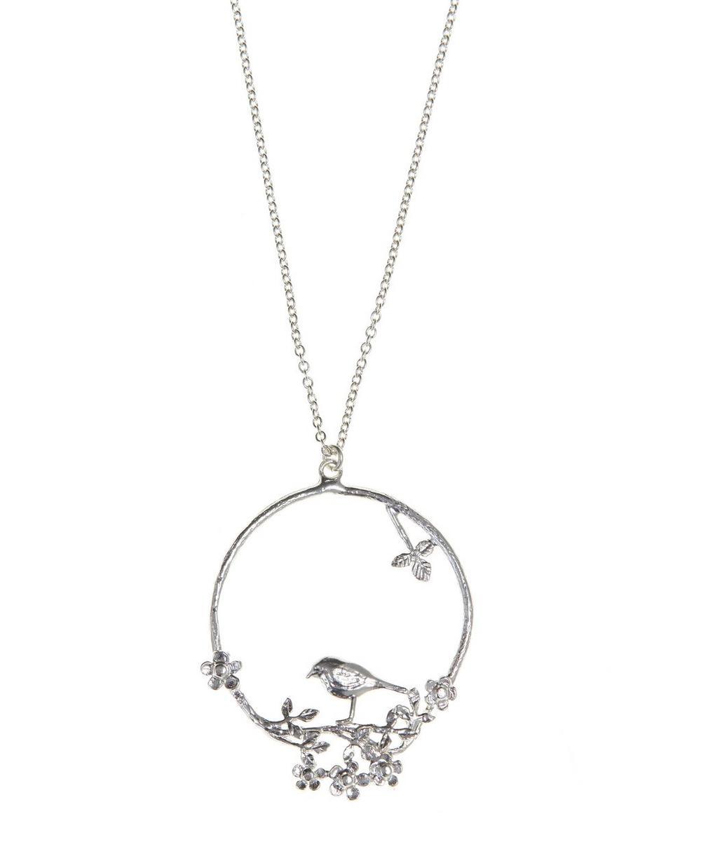 Flowery Bird Loop Necklace