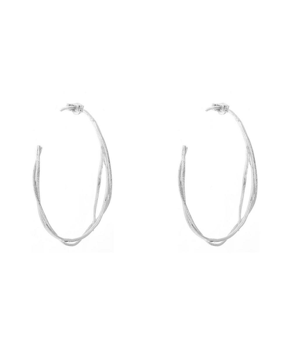Silver Fine Twist Hoop Earrings