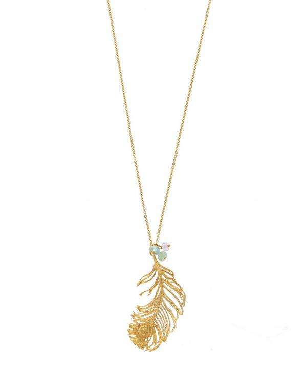 Gold-Plated Peacock Feather Gem Necklace