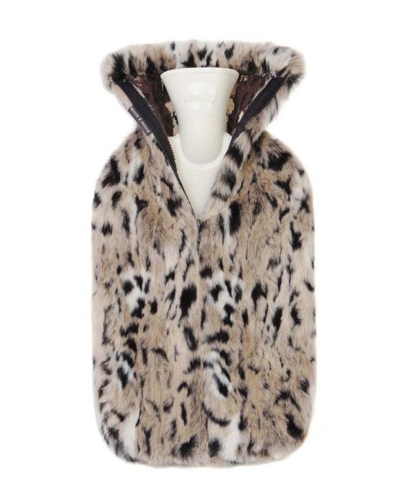 Snow Leopard Faux Fur Hot Water Bottle