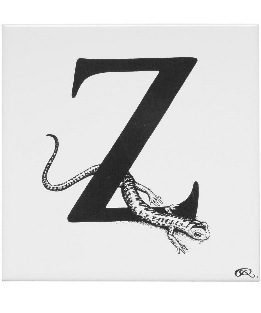 White Letter Z Zig-Zag Salamander Tile