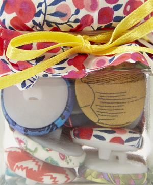 Jar of Single-Covered Liberty Print Buttons