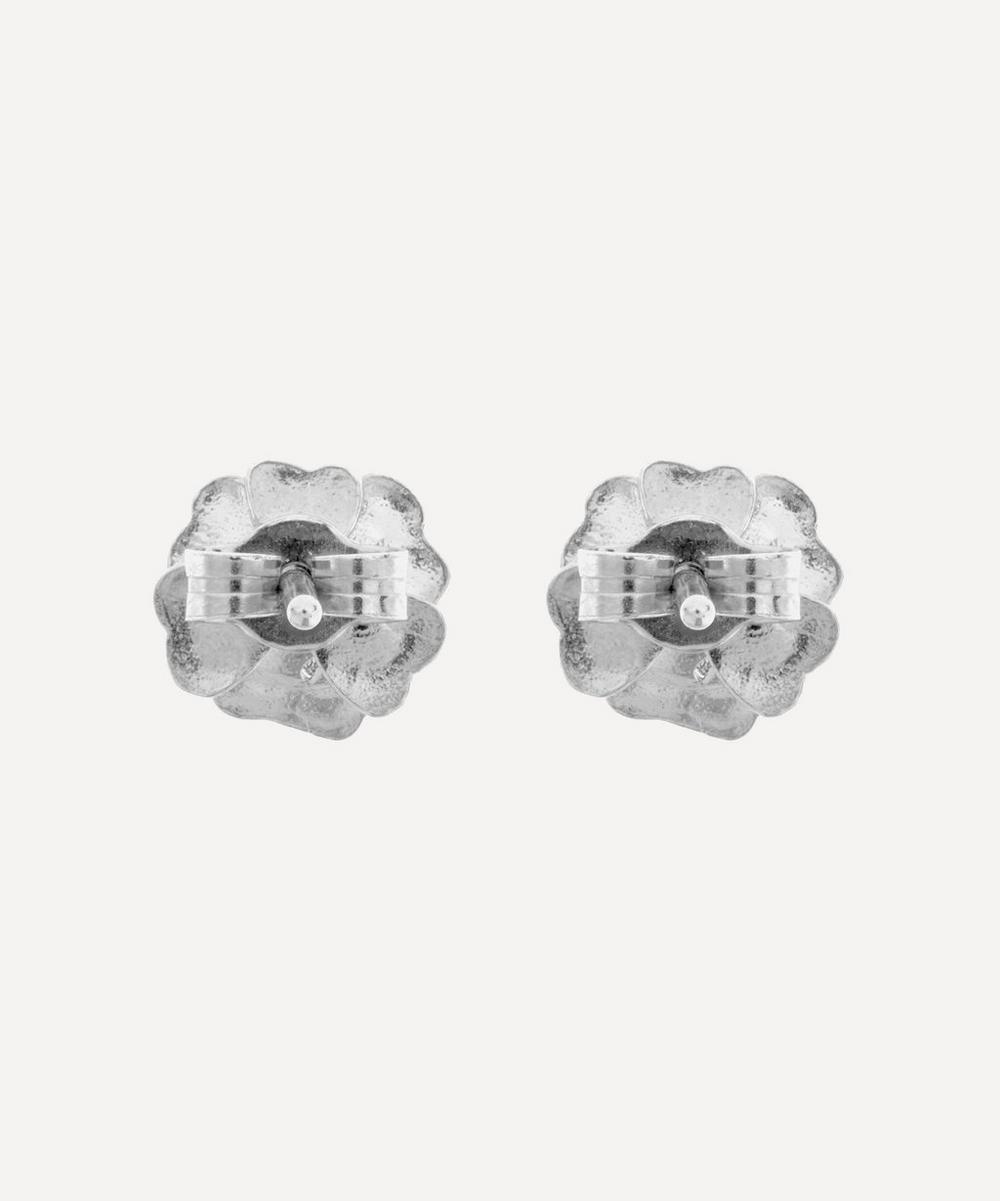 Silver Rose Damasca Stud Earrings