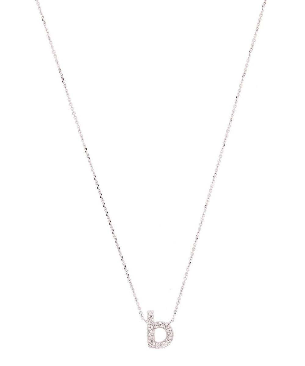 White Gold Diamond Letter B Necklace