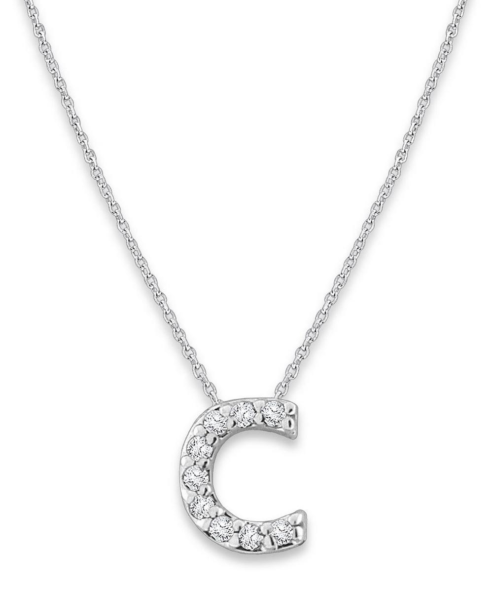 White Gold Diamond Letter C Necklace