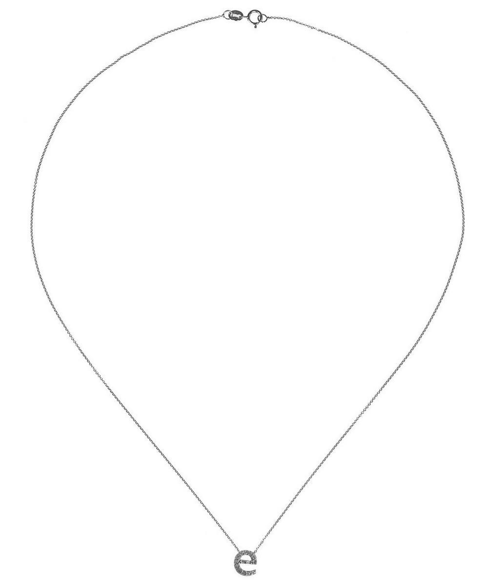 White Gold Diamond Letter E Necklace