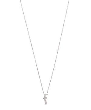 White Gold Diamond Letter F Necklace