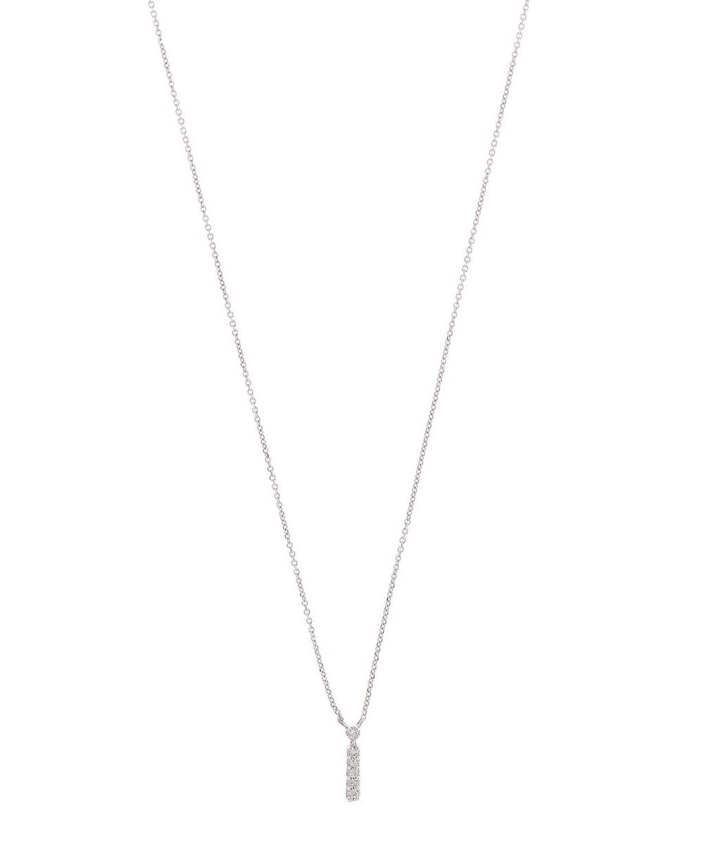 White Gold Diamond Letter I Necklace