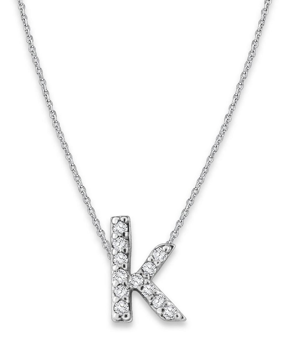 White Gold Diamond Letter K Necklace