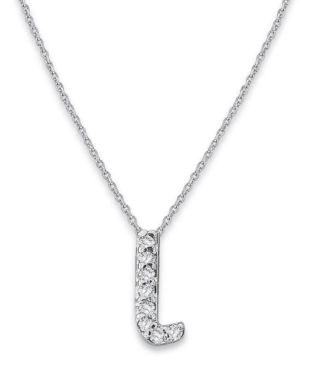 White Gold Diamond Letter L Necklace