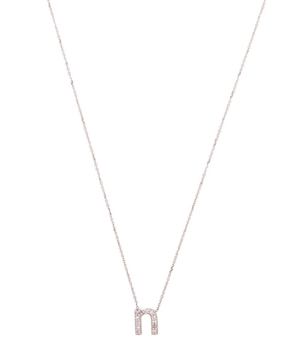 White Gold Diamond Letter N Necklace