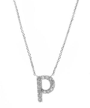 White Gold Diamond Letter P Necklace