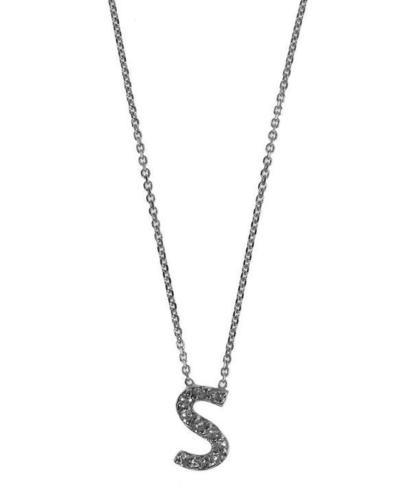White Gold Diamond Letter S Necklace