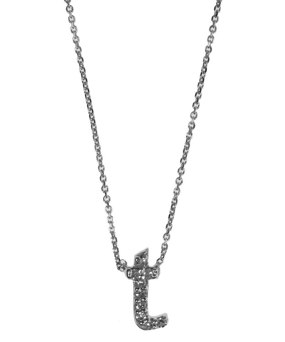 White Gold Diamond Letter T Necklace
