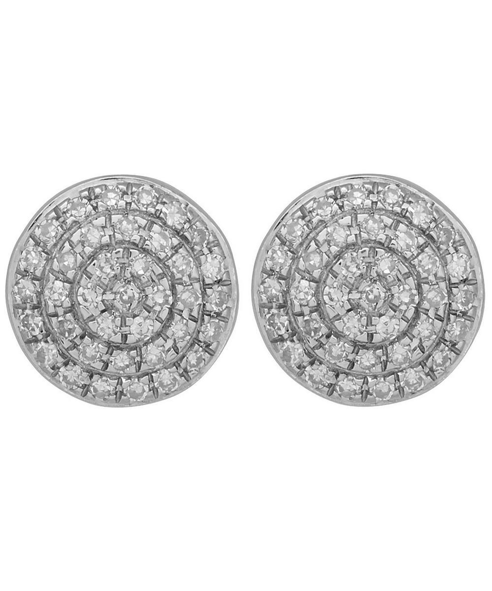 Silver Diamond Ava Button Stud Earrings