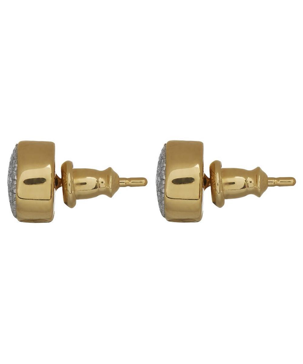 Gold Vermeil Diamond Ava Button Stud Earrings