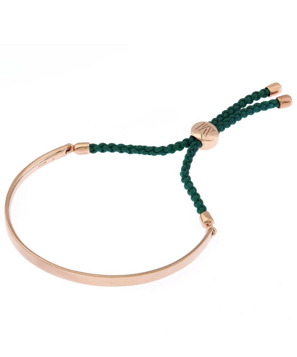 Rose Gold Vermeil Green Cord Fiji Bracelet