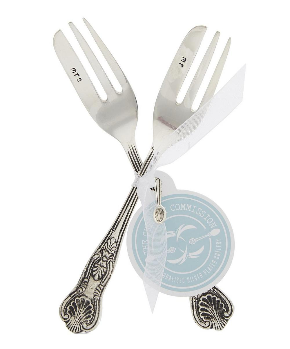 Silver-Plated Mr and Mrs Cake Fork Set