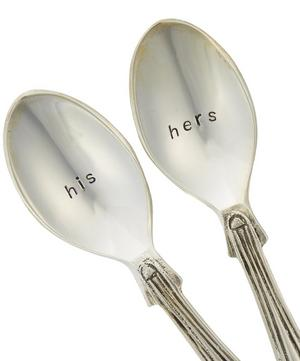 Silver-Plated His and Hers Teaspoon Set