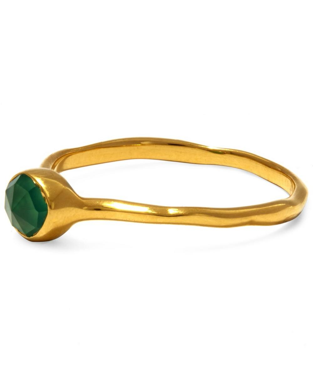 Gold Vermeil Green Onyx Small Siren Stacking Ring